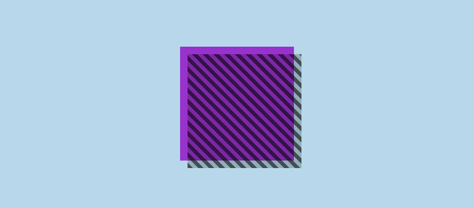 A diagonally striped square overlaid on a purple one